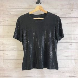St John Caviar Black Short Sleeves Sequins Top S